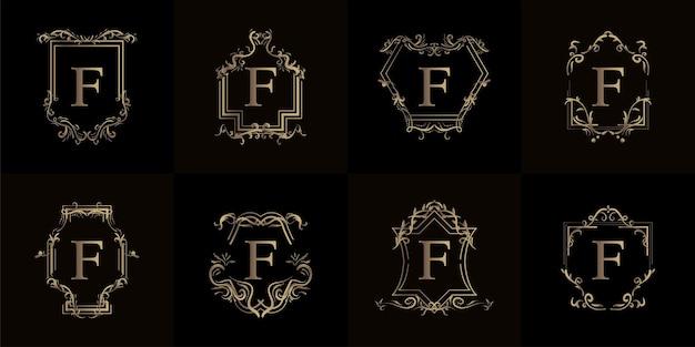 Coleção do logotipo inicial f com ornamento de luxo ou moldura de flor