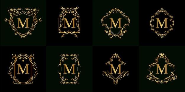 Coleção do logotipo inicial m com ornamento de luxo ou moldura de flor