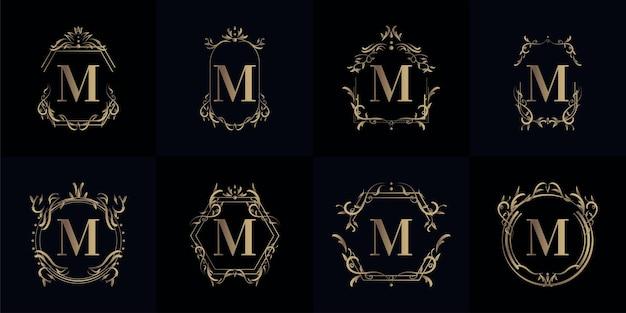 Coleção do logotipo inicial m com ornamento de luxo