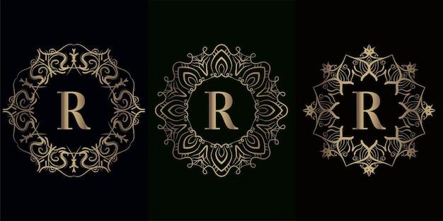 Coleção do logotipo inicial r com ornamento de mandala de luxo com moldura de ornamento de mandala de luxo