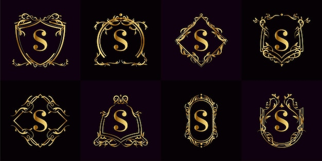 Coleção do logotipo inicial s com ornamento de luxo ou moldura de flor