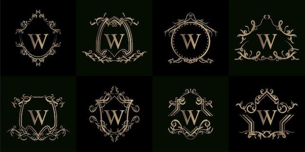 Coleção do logotipo inicial w com ornamento de luxo ou moldura de flor