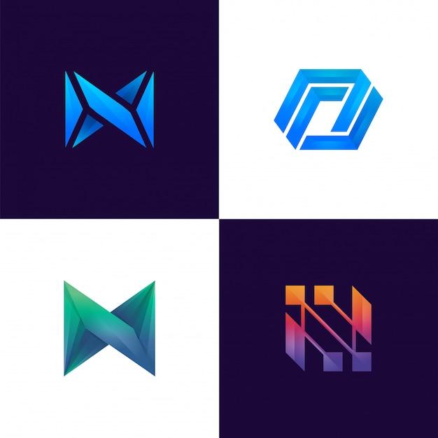 Coleção do logotipo moderno da letra n com monograma colorido