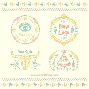 Coleção do logotipo no estilo boho