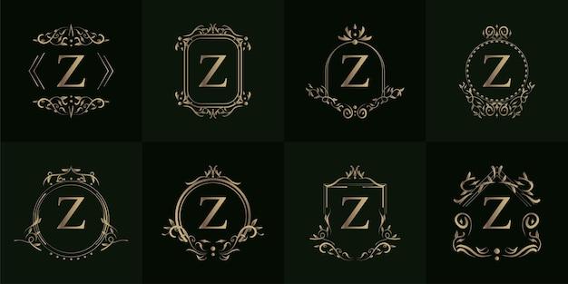 Coleção do logotipo z inicial com ornamento de luxo ou moldura de flor
