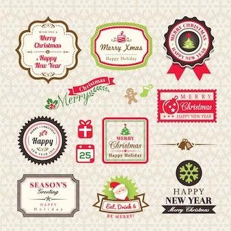 Coleção do natal de etiquetas e enquadra elementos de design