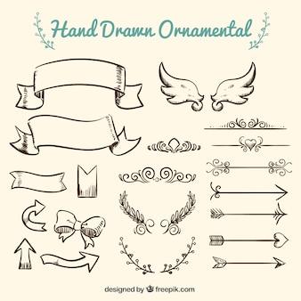Coleção do ornamento desenhado mão