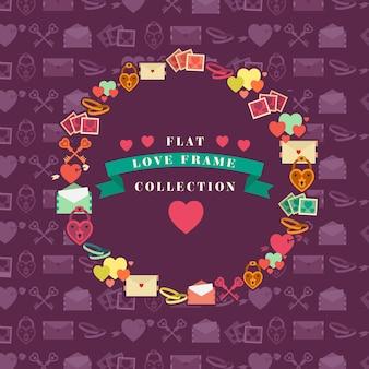 Coleção do quadro amor plana