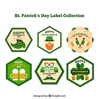 Coleção do selo do dia de são patrício / etiqueta