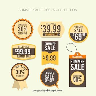 Coleção do tag do preço de venda do verão