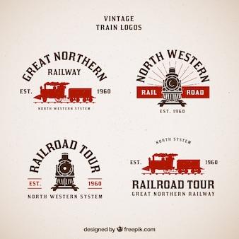 Coleção do trem do logotipo do vintage