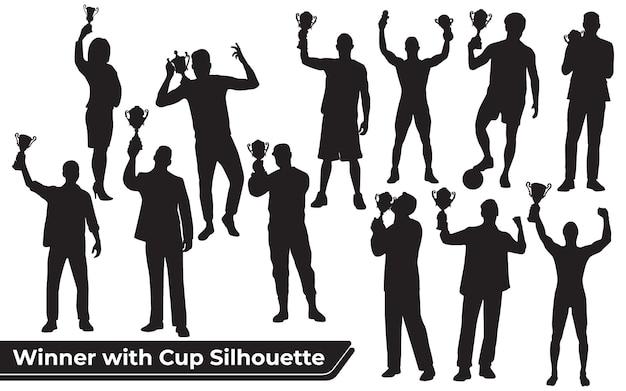 Coleção do vencedor ou celebrando o sucesso silhueta em diferentes posições