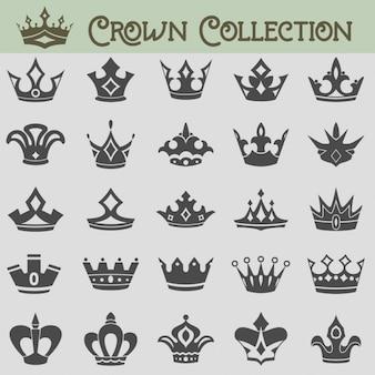 Coleção do vetor de silhuetas da coroa