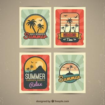 Coleção do vintage de quatro cartões decorativos do verão