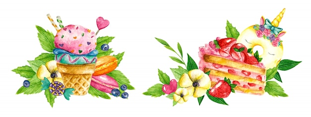 Coleção doce. comida em aquarela de confeitaria. ilustrações de bolos, sorvetes, tortas, biscoitos, biscoitos, doces