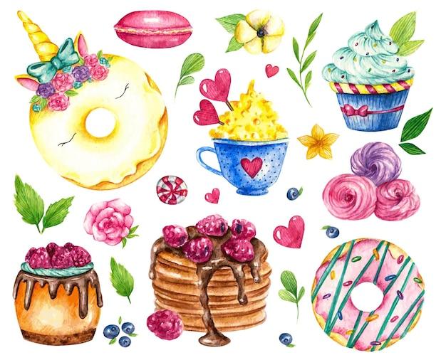 Coleção doce. comida em aquarela de vetor de confeitaria.