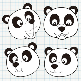 Coleção doodle cute panda face