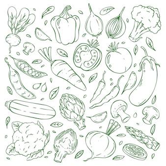 Coleção doodle de vegetais desenhados à mão