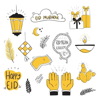 Coleção doodle eid mubarak com estilo único
