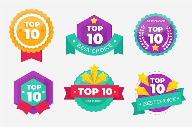 Coleção dos 10 principais emblemas