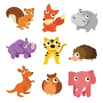 Coleção dos animais colorido