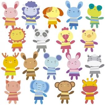Coleção dos animais dos desenhos animados