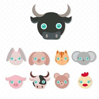 Coleção dos animais máscaras