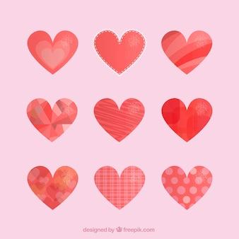 Coleção dos corações do sumário da aguarela