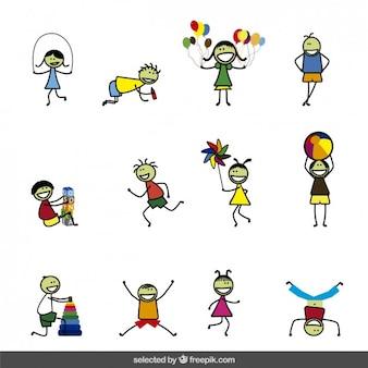 Coleção dos desenhos animados dos miúdos felizes