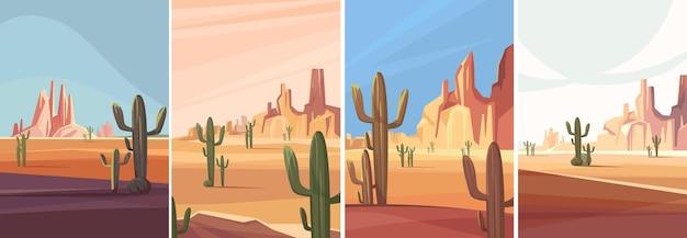 Coleção dos desertos do arizona. paisagens naturais em orientação vertical.