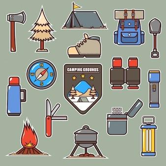 Coleção dos elementos de campismo