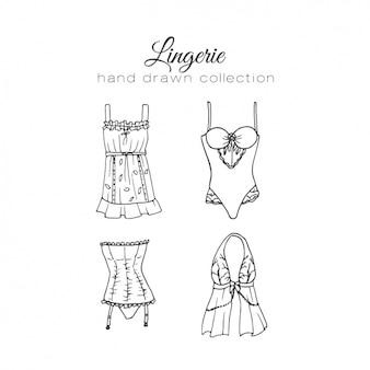 Coleção dos elementos de lingerie feminina