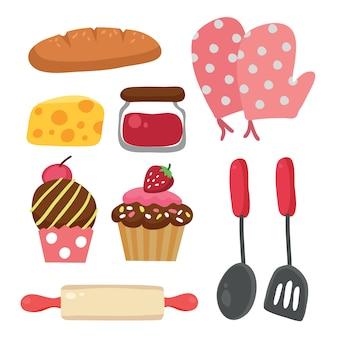Coleção dos elementos de padaria