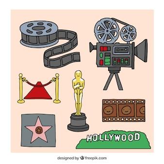 Coleção dos elementos do cinema de hollywood