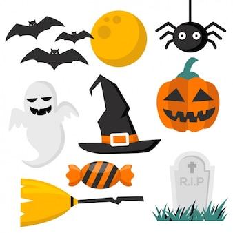 Coleção dos elementos do halloween