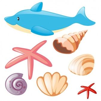 Coleção dos elementos do sealife
