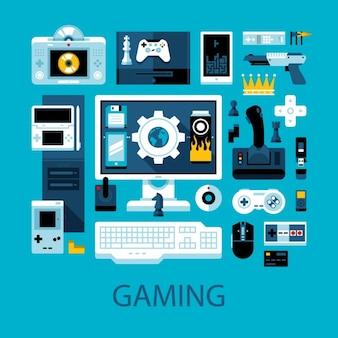 Coleção dos elementos do videogame