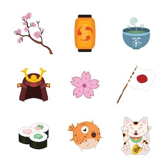Coleção dos elementos japoneses