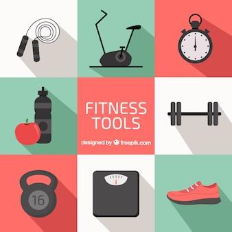 Coleção dos elementos para exercício físico