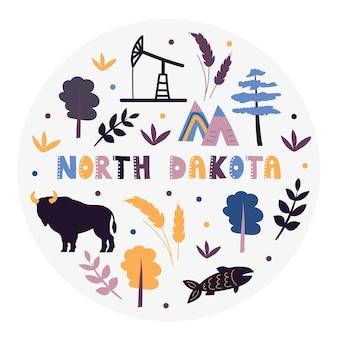 Coleção dos eua. ilustração em vetor de dakota do norte. símbolos de estado - forma redonda
