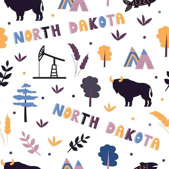 Coleção dos eua. ilustração em vetor do tema dakota do norte. símbolos de estado - padrão uniforme