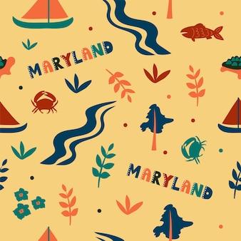 Coleção dos eua. ilustração em vetor do tema de maryland. símbolos de estado - padrão uniforme