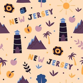 Coleção dos eua. ilustração em vetor do tema de nova jersey. símbolos de estado - padrão uniforme