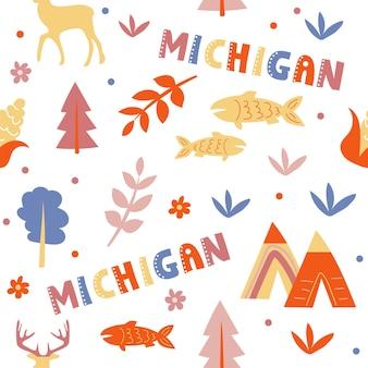 Coleção dos eua. ilustração em vetor do tema michigan. símbolos de estado