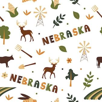 Coleção dos eua. ilustração em vetor do tema nebraska. símbolos de estado - padrão uniforme