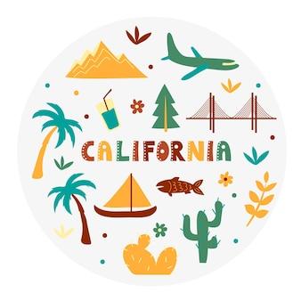 Coleção dos eua. ilustração vetorial da califórnia. símbolos de estado - forma redonda