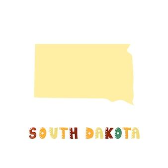Coleção dos eua. mapa da dakota do sul - silhueta amarela