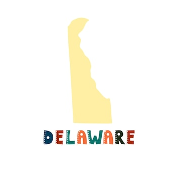 Coleção dos eua. mapa de delaware - silhueta amarela. letras de estilo rabisco