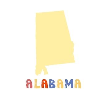 Coleção dos eua. mapa do alabama - silhueta amarela. letras de estilo rabisco
