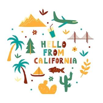 Coleção dos eua. olá do tema da califórnia. símbolos de estado